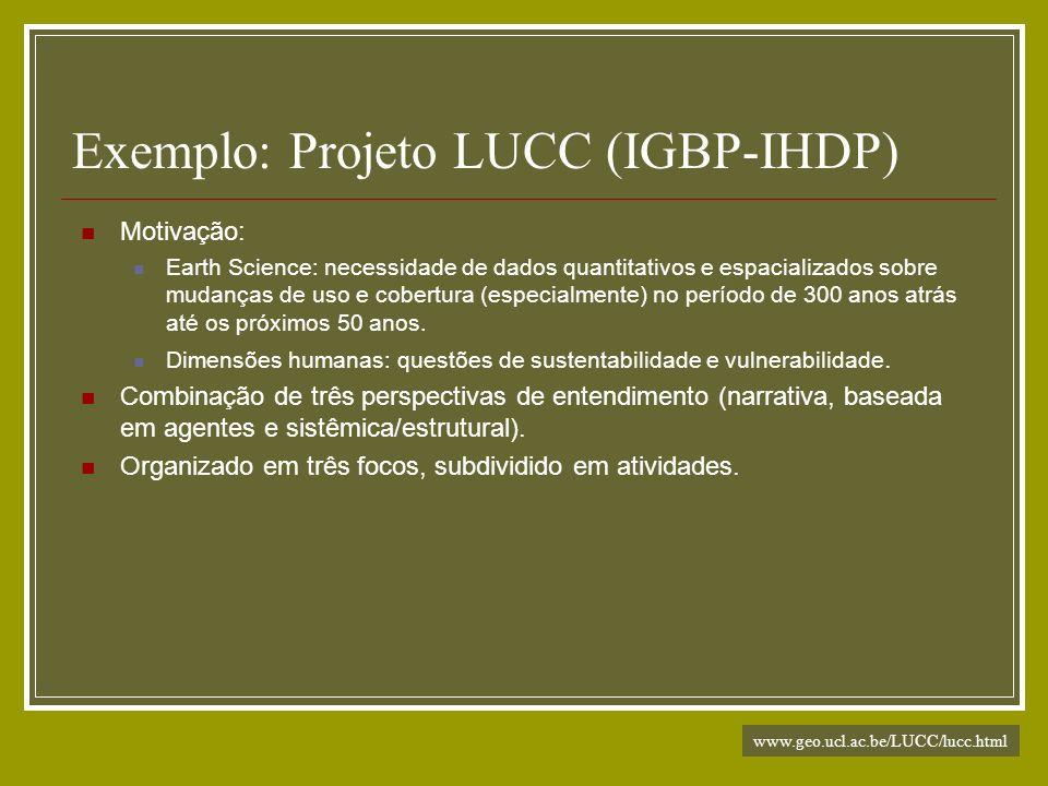 Exemplo: Projeto LUCC (IGBP-IHDP) Motivação: Earth Science: necessidade de dados quantitativos e espacializados sobre mudanças de uso e cobertura (esp