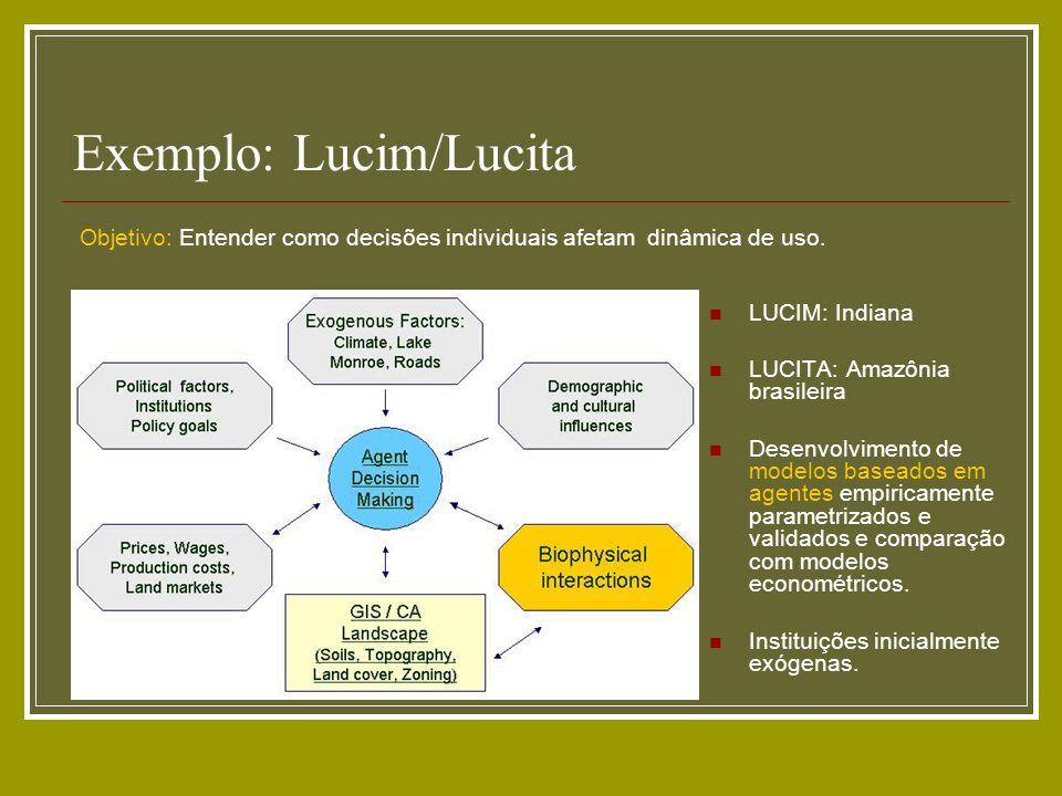 Exemplo: Lucim/Lucita LUCIM: Indiana LUCITA: Amazônia brasileira Desenvolvimento de modelos baseados em agentes empiricamente parametrizados e validad