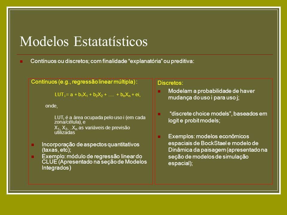 Modelos Estatatísticos Contínuos ou discretos; com finalidade explanatória ou preditiva: Contínuos (e.g., regressão linear múltipla) : LUT i = a + b 1