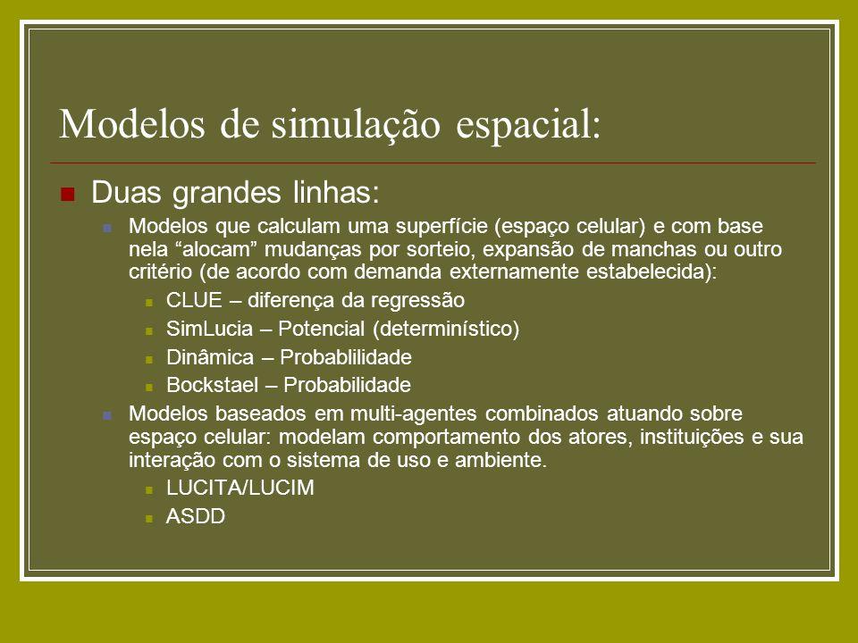 Modelos de simulação espacial: Duas grandes linhas: Modelos que calculam uma superfície (espaço celular) e com base nela alocam mudanças por sorteio,