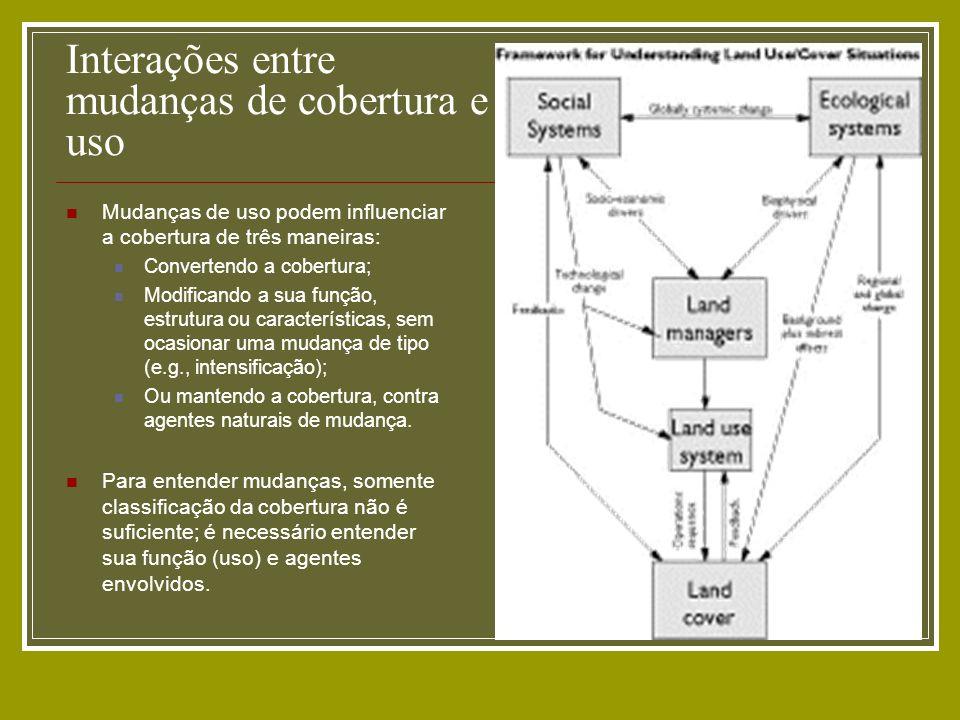Exemplo: Dinâmica Estocástico (estimativa das taxas de transição e regras de transição); Espacializado, baseado em autômatos celulares generalizados); Pode ser integrado a modelo externo para construção de cenários (cálculo de matrizes de tranisção) e modelo de construção de estradas.