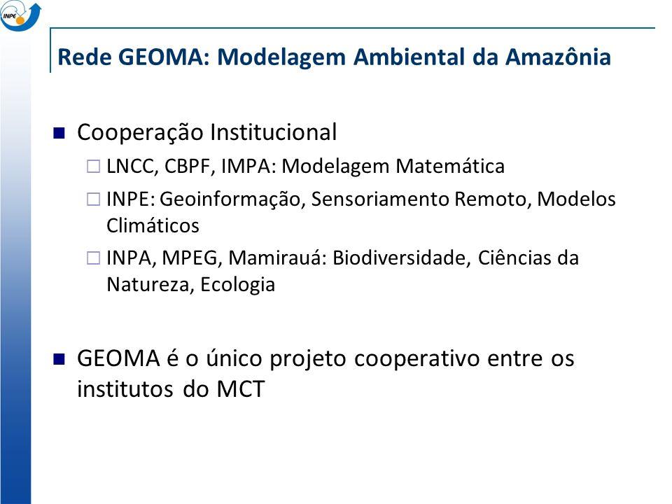 Rede GEOMA: Modelagem Ambiental da Amazônia Cooperação Institucional LNCC, CBPF, IMPA: Modelagem Matemática INPE: Geoinformação, Sensoriamento Remoto,