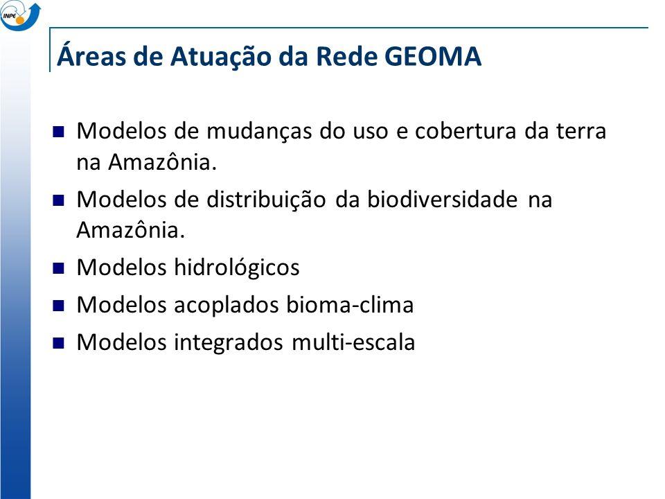 Áreas de Atuação da Rede GEOMA Modelos de mudanças do uso e cobertura da terra na Amazônia. Modelos de distribuição da biodiversidade na Amazônia. Mod