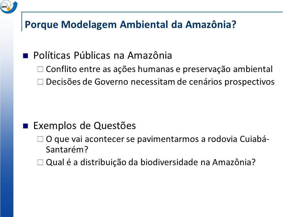 Porque Modelagem Ambiental da Amazônia? Políticas Públicas na Amazônia Conflito entre as ações humanas e preservação ambiental Decisões de Governo nec