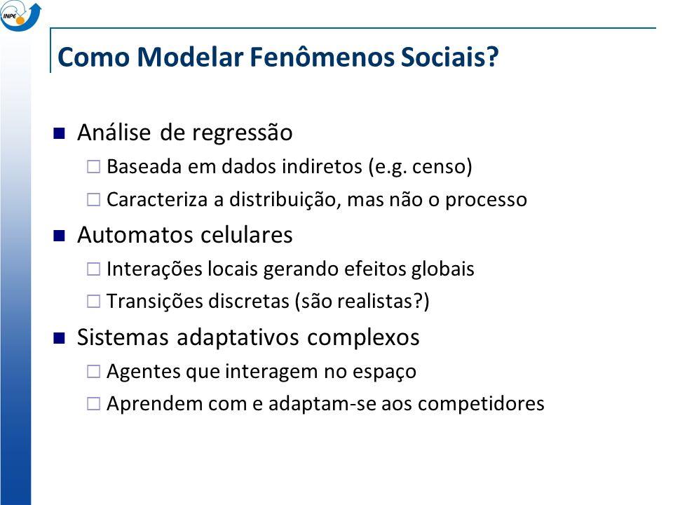 Como Modelar Fenômenos Sociais? Análise de regressão Baseada em dados indiretos (e.g. censo) Caracteriza a distribuição, mas não o processo Automatos