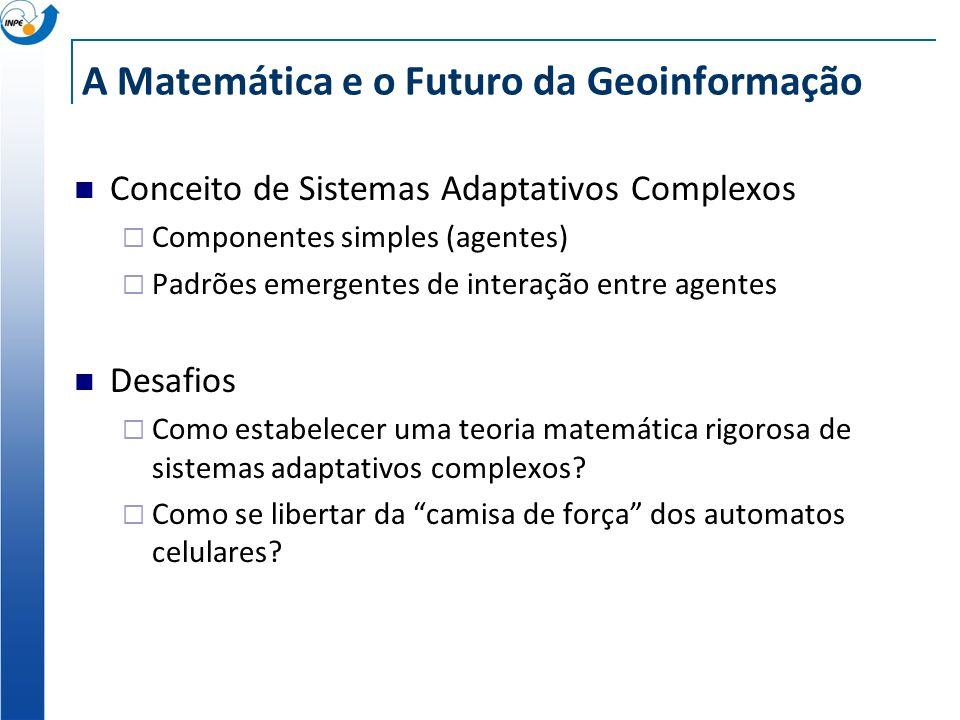 A Matemática e o Futuro da Geoinformação Conceito de Sistemas Adaptativos Complexos Componentes simples (agentes) Padrões emergentes de interação entr
