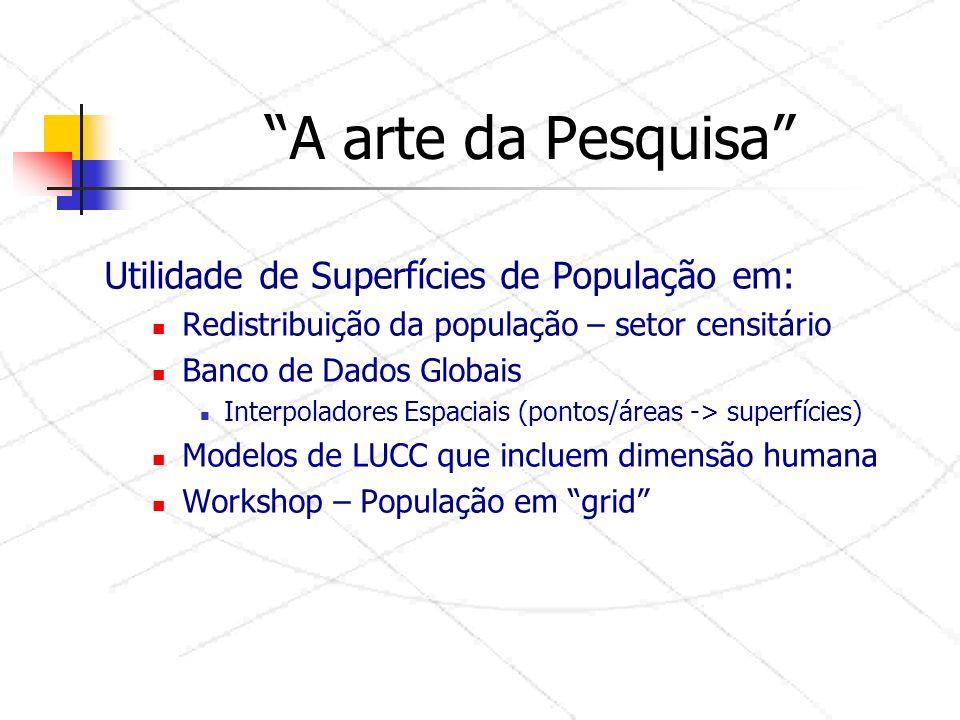 A arte da Pesquisa Utilidade de Superfícies de População em: Redistribuição da população – setor censitário Banco de Dados Globais Interpoladores Espaciais (pontos/áreas -> superfícies) Modelos de LUCC que incluem dimensão humana Workshop – População em grid