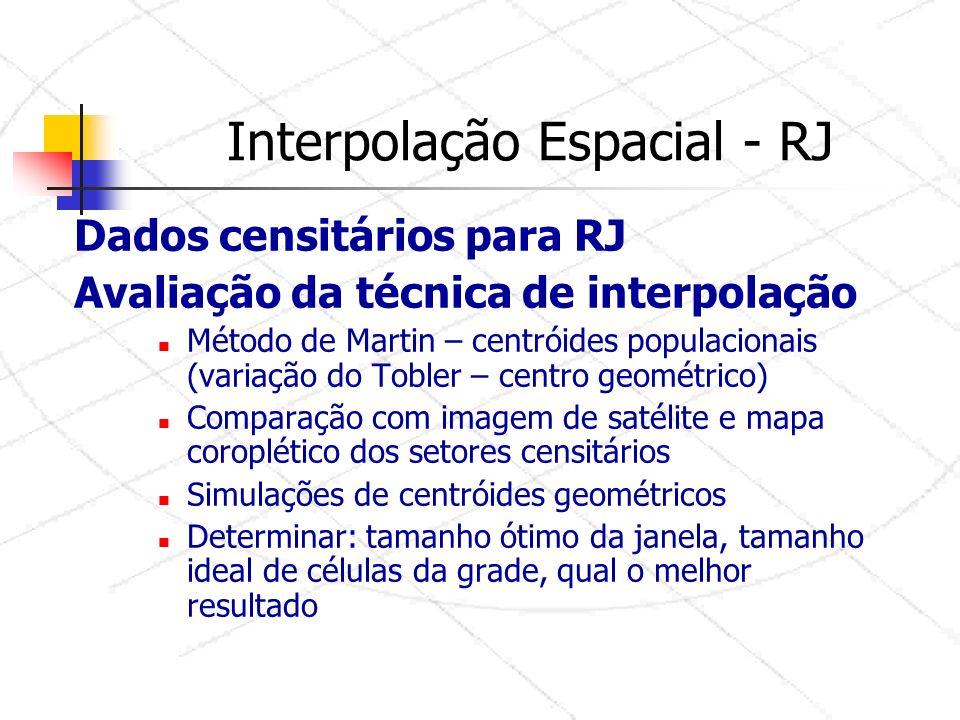Interpolação Espacial - RJ Dados censitários para RJ Avaliação da técnica de interpolação Método de Martin – centróides populacionais (variação do Tobler – centro geométrico) Comparação com imagem de satélite e mapa coroplético dos setores censitários Simulações de centróides geométricos Determinar: tamanho ótimo da janela, tamanho ideal de células da grade, qual o melhor resultado