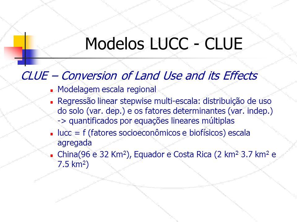 CLUE – Conversion of Land Use and its Effects Modelagem escala regional Regressão linear stepwise multi-escala: distribuição de uso do solo (var.