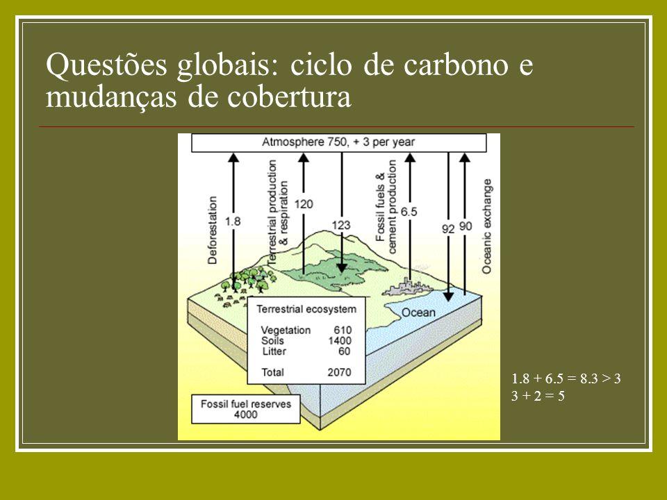 Questões globais: ciclo de carbono e mudanças de cobertura 1.8 + 6.5 = 8.3 > 3 3 + 2 = 5