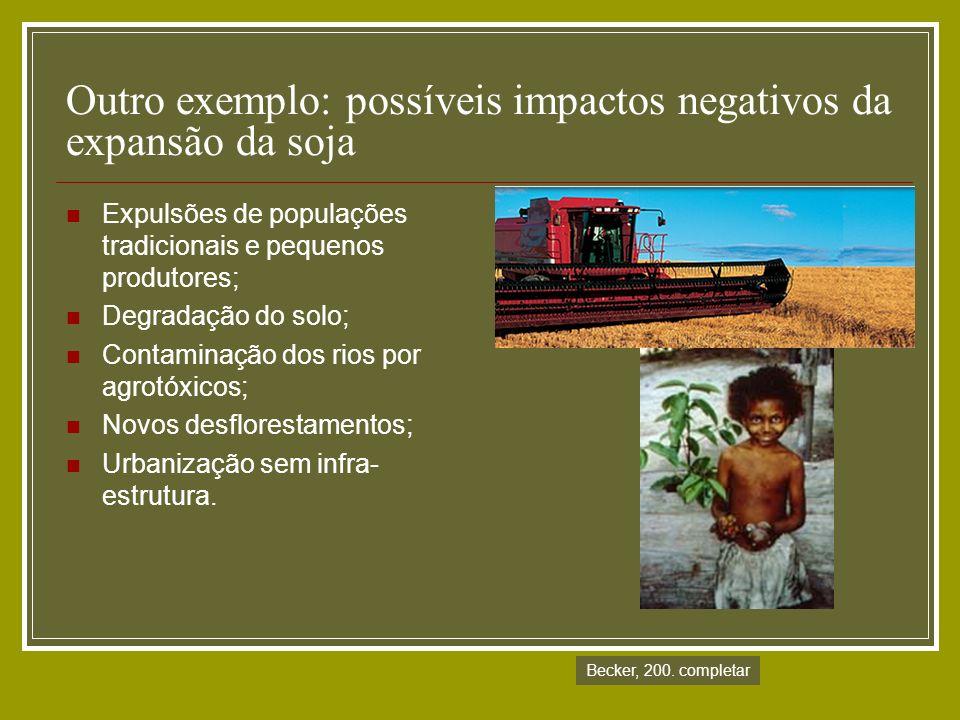 Outro exemplo: possíveis impactos negativos da expansão da soja Expulsões de populações tradicionais e pequenos produtores; Degradação do solo; Contam