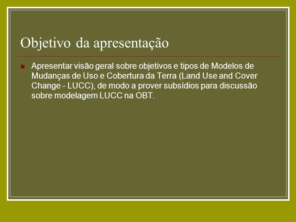 Objetivo da apresentação Apresentar visão geral sobre objetivos e tipos de Modelos de Mudanças de Uso e Cobertura da Terra (Land Use and Cover Change
