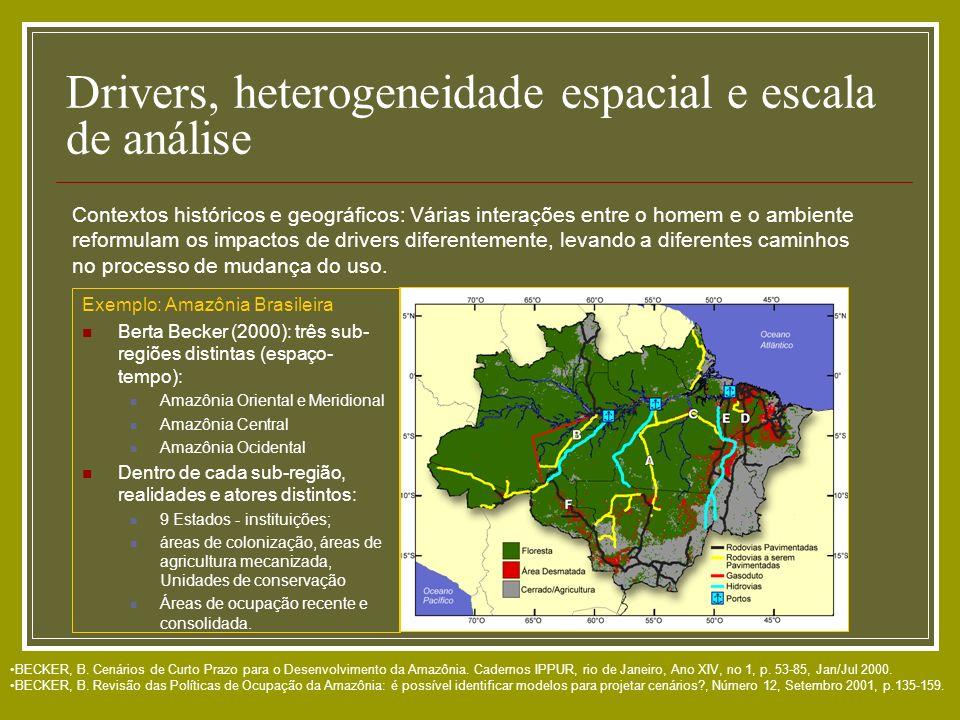 Drivers, heterogeneidade espacial e escala de análise BECKER, B. Cenários de Curto Prazo para o Desenvolvimento da Amazônia. Cadernos IPPUR, rio de Ja