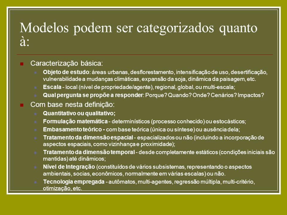 Caracterização básica: Objeto de estudo: áreas urbanas, desflorestamento, intensificação de uso, desertificação, vulnerabilidade a mudanças climáticas