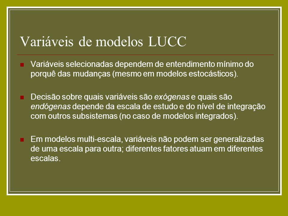 Variáveis de modelos LUCC Variáveis selecionadas dependem de entendimento mínimo do porquê das mudanças (mesmo em modelos estocásticos). Decisão sobre