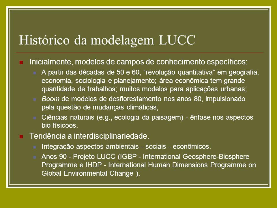 Histórico da modelagem LUCC Inicialmente, modelos de campos de conhecimento específicos: A partir das décadas de 50 e 60, revolução quantitativa em ge