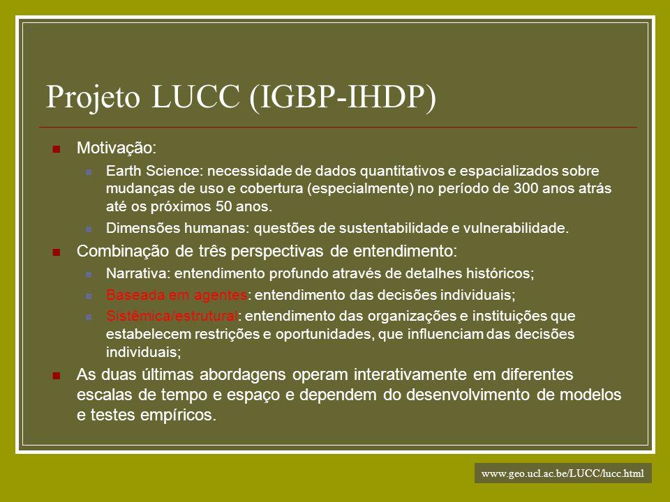 Projeto LUCC (IGBP-IHDP) Motivação: Earth Science: necessidade de dados quantitativos e espacializados sobre mudanças de uso e cobertura (especialment