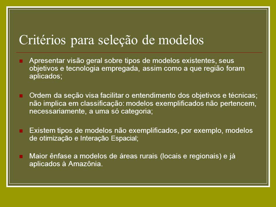 Critérios para seleção de modelos Apresentar visão geral sobre tipos de modelos existentes, seus objetivos e tecnologia empregada, assim como a que re