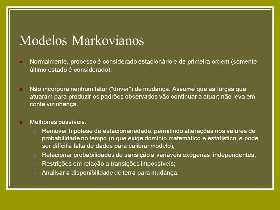 Modelos Markovianos Normalmente, processo é considerado estacionário e de primeira ordem (somente último estado é considerado); Não incorpora nenhum f