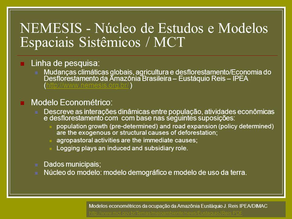 NEMESIS - Núcleo de Estudos e Modelos Espaciais Sistêmicos / MCT Linha de pesquisa: Mudanças climáticas globais, agricultura e desflorestamento/Econom