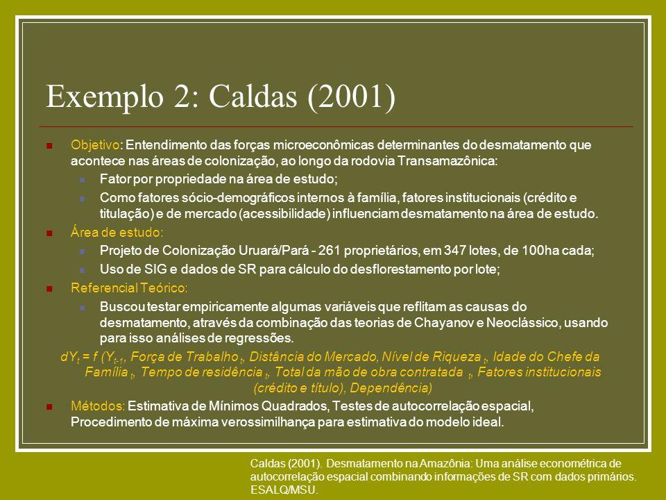 Exemplo 2: Caldas (2001) Objetivo: Entendimento das forças microeconômicas determinantes do desmatamento que acontece nas áreas de colonização, ao lon