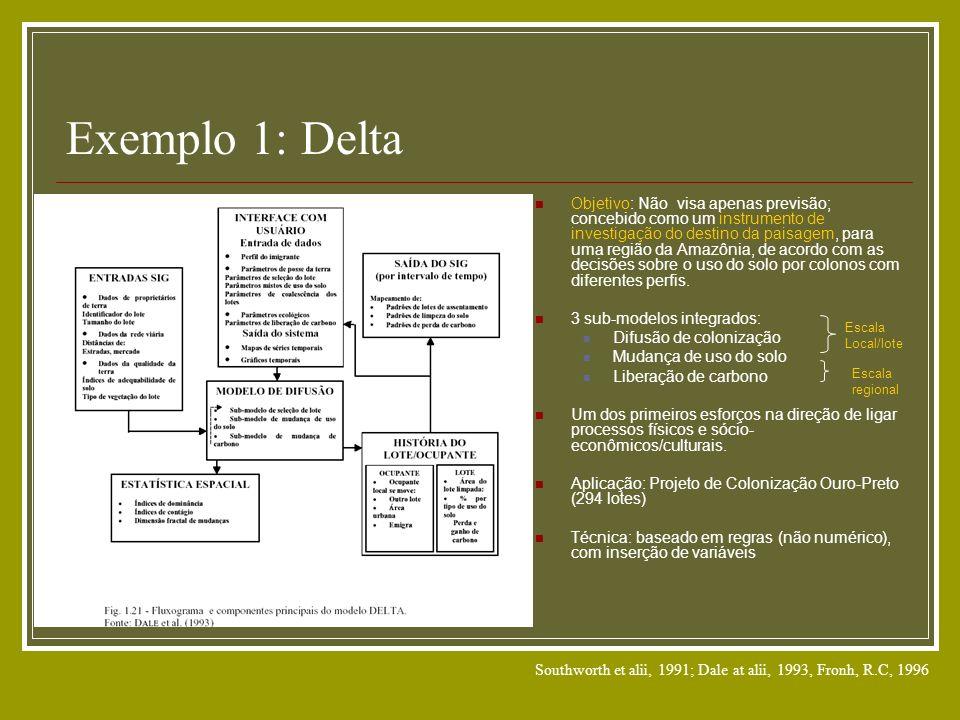 Exemplo 1: Delta Objetivo: Não visa apenas previsão; concebido como um instrumento de investigação do destino da paisagem, para uma região da Amazônia