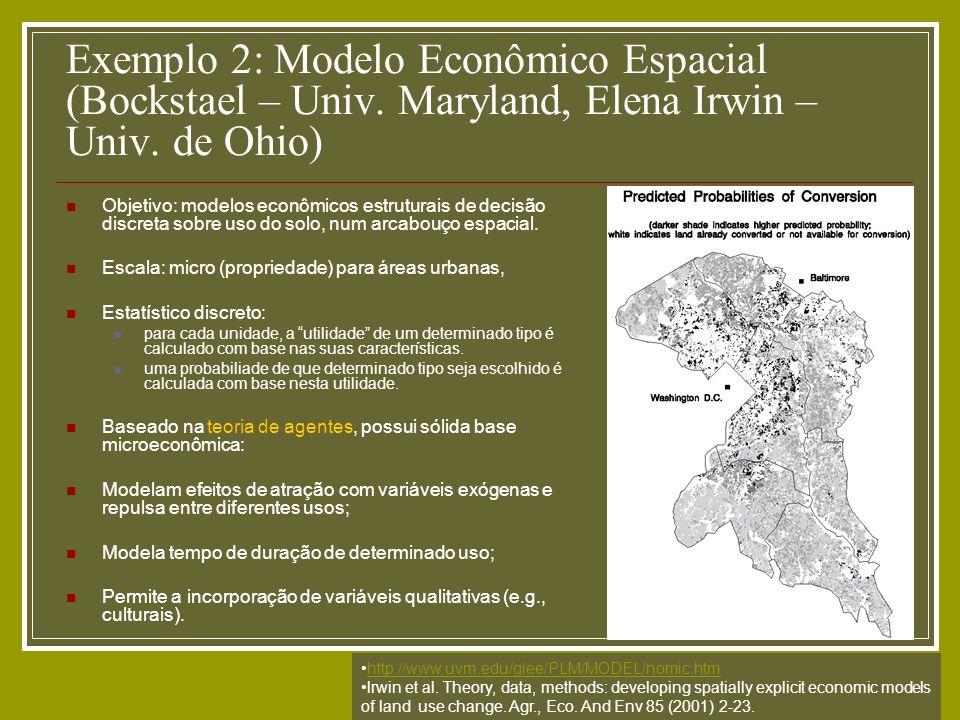 Exemplo 2: Modelo Econômico Espacial (Bockstael – Univ. Maryland, Elena Irwin – Univ. de Ohio) Objetivo: modelos econômicos estruturais de decisão dis