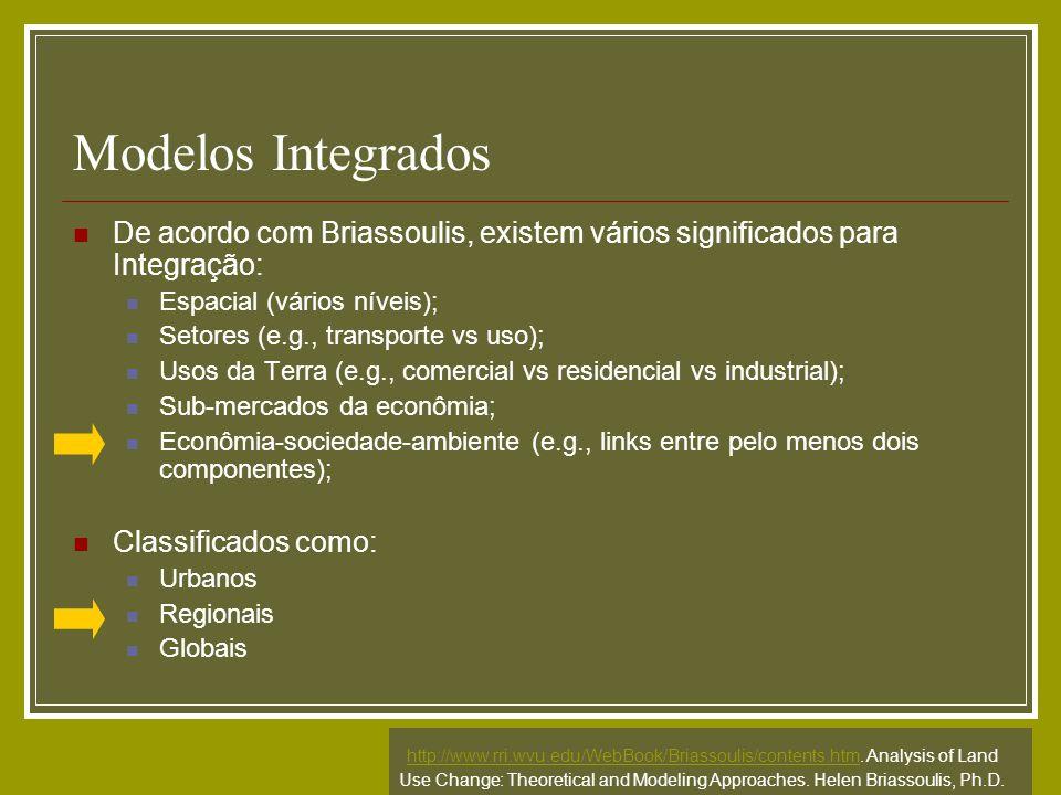 Modelos Integrados De acordo com Briassoulis, existem vários significados para Integração: Espacial (vários níveis); Setores (e.g., transporte vs uso)
