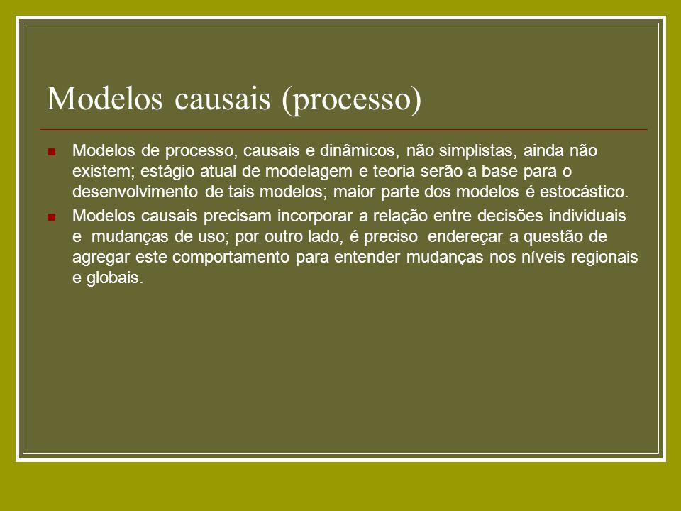 Modelos causais (processo) Modelos de processo, causais e dinâmicos, não simplistas, ainda não existem; estágio atual de modelagem e teoria serão a ba