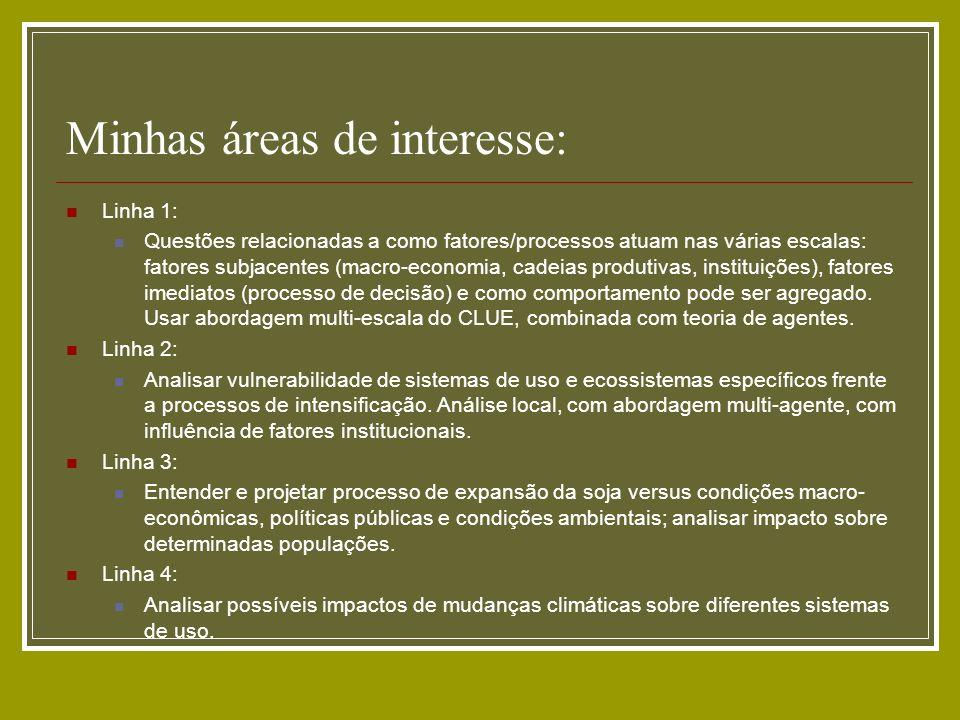 Minhas áreas de interesse: Linha 1: Questões relacionadas a como fatores/processos atuam nas várias escalas: fatores subjacentes (macro-economia, cade