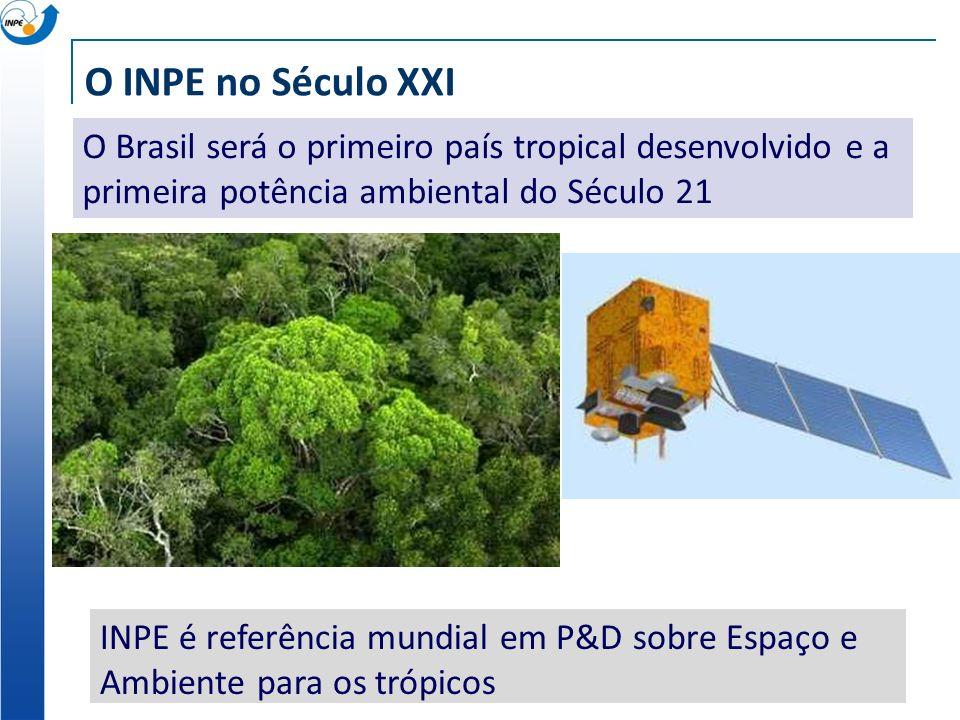 O INPE no Século XXI O Brasil será o primeiro país tropical desenvolvido e a primeira potência ambiental do Século 21 INPE é referência mundial em P&D