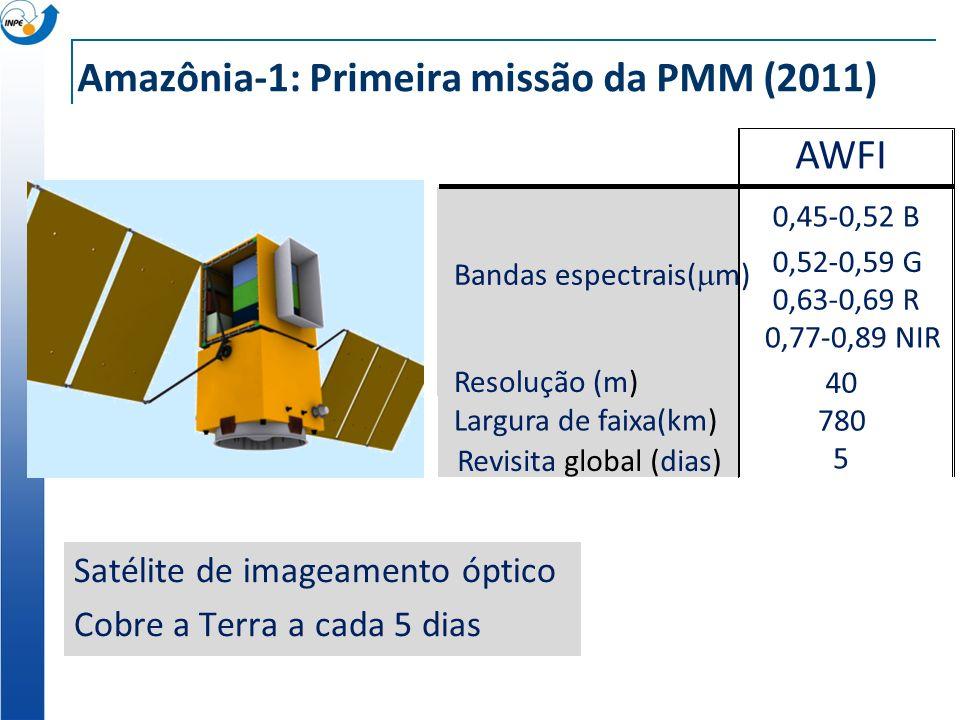 Amazônia-1: Primeira missão da PMM (2011) Satélite de imageamento óptico Cobre a Terra a cada 5 dias AWFI Bandas espectrais( m) 0,45-0,52 B 0,52-0,59