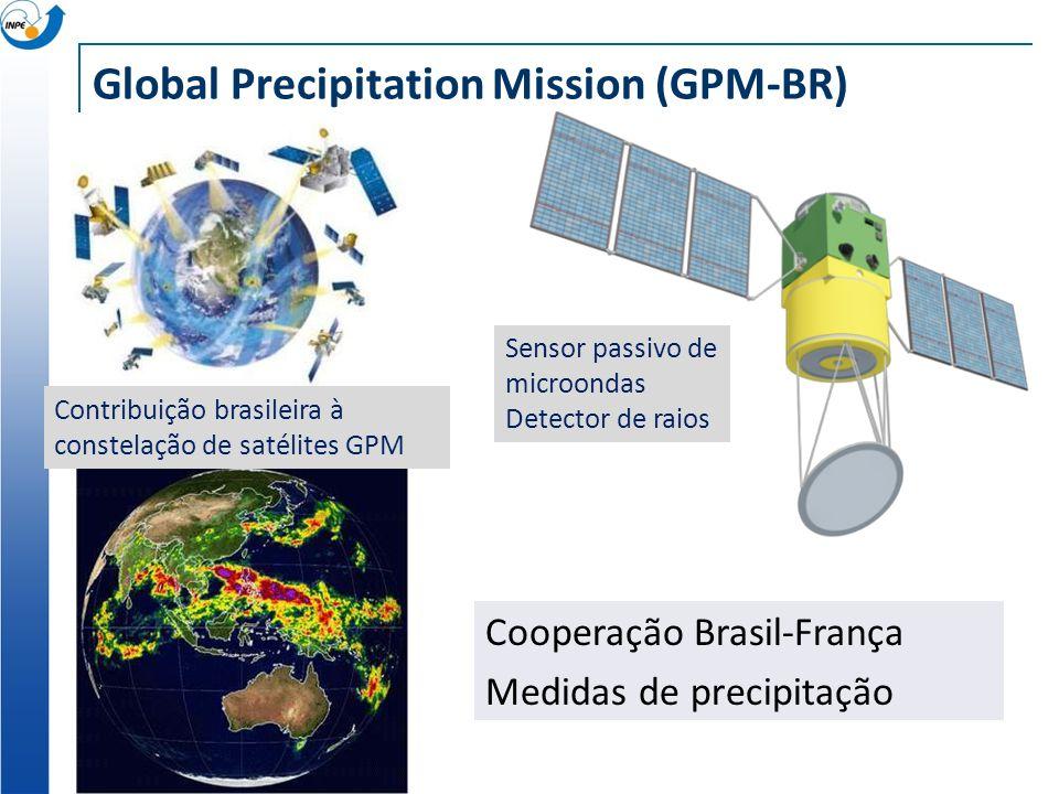 Global Precipitation Mission (GPM-BR) Sensor passivo de microondas Detector de raios Contribuição brasileira à constelação de satélites GPM Cooperação