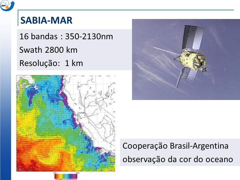 SABIA-MAR 16 bandas : 350-2130nm Swath 2800 km Resolução: 1 km Cooperação Brasil-Argentina observação da cor do oceano