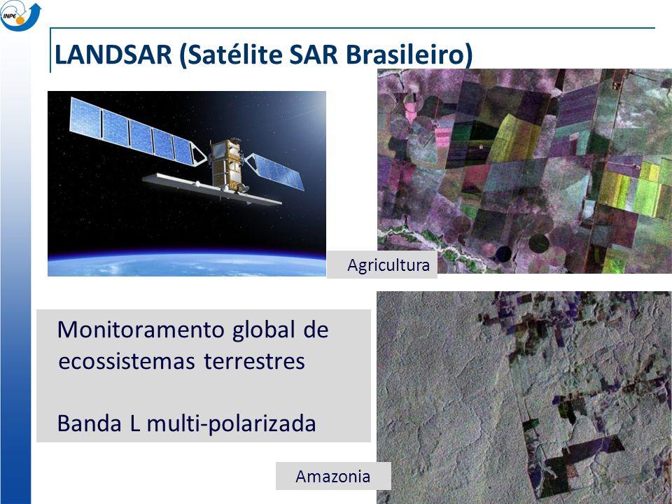 LANDSAR (Satélite SAR Brasileiro) Monitoramento global de ecossistemas terrestres Banda L multi-polarizada Amazonia Agricultura