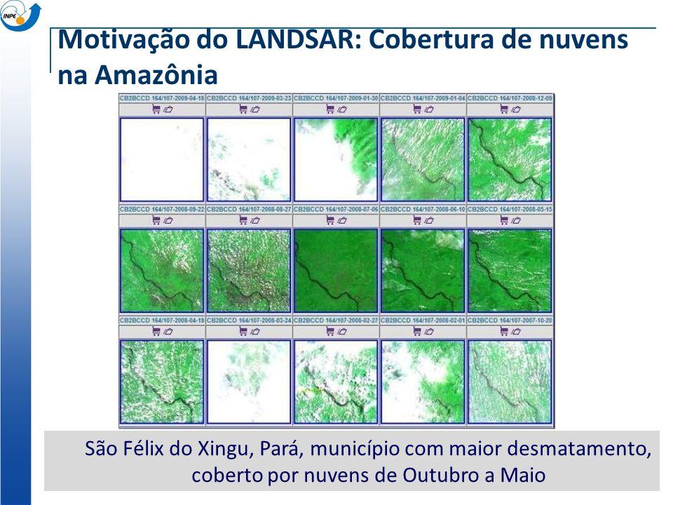 Motivação do LANDSAR: Cobertura de nuvens na Amazônia São Félix do Xingu, Pará, município com maior desmatamento, coberto por nuvens de Outubro a Maio