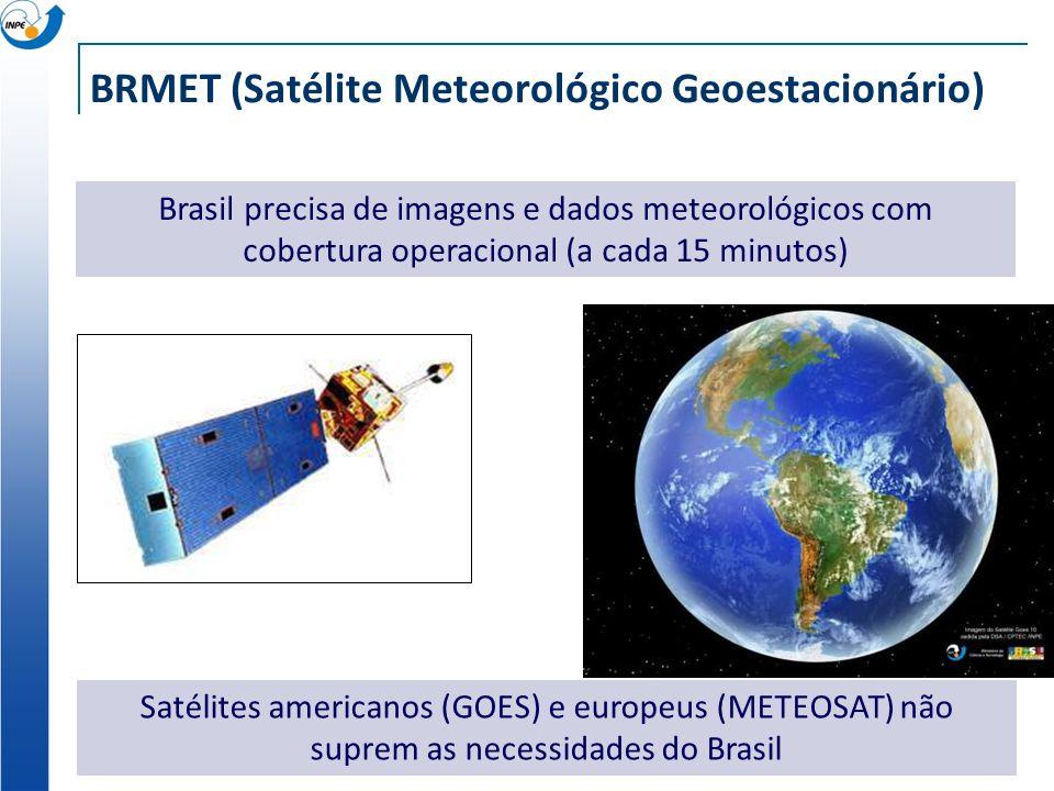 BRMET (Satélite Meteorológico Geoestacionário) Brasil precisa de imagens e dados meteorológicos com cobertura operacional (a cada 15 minutos) Satélite