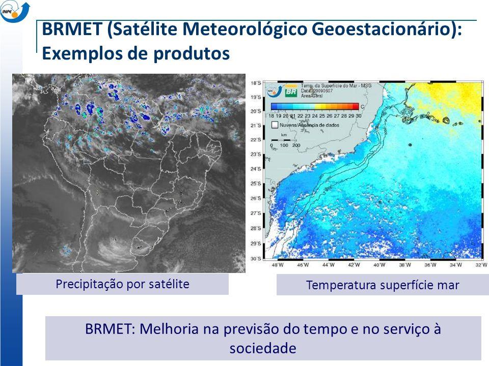 BRMET (Satélite Meteorológico Geoestacionário): Exemplos de produtos BRMET: Melhoria na previsão do tempo e no serviço à sociedade Precipitação por sa