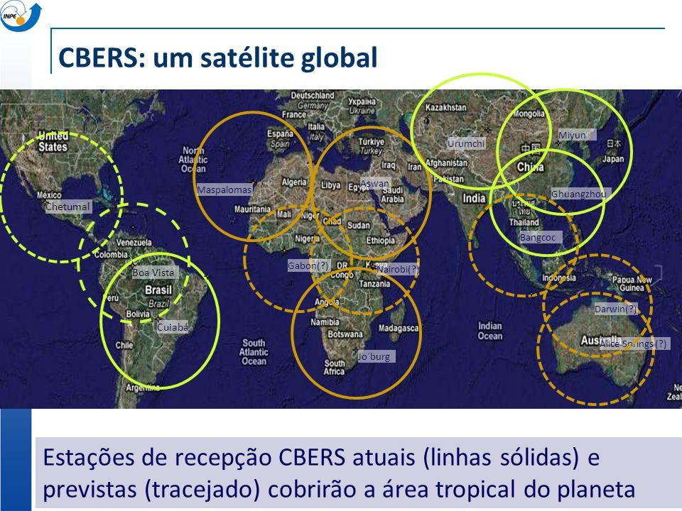 CBERS: um satélite global Estações de recepção CBERS atuais (linhas sólidas) e previstas (tracejado) cobrirão a área tropical do planeta Cuiabá Boa Vi