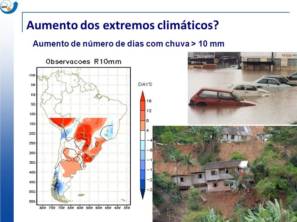 Aumento dos extremos climáticos? Aumento de número de dias com chuva > 10 mm