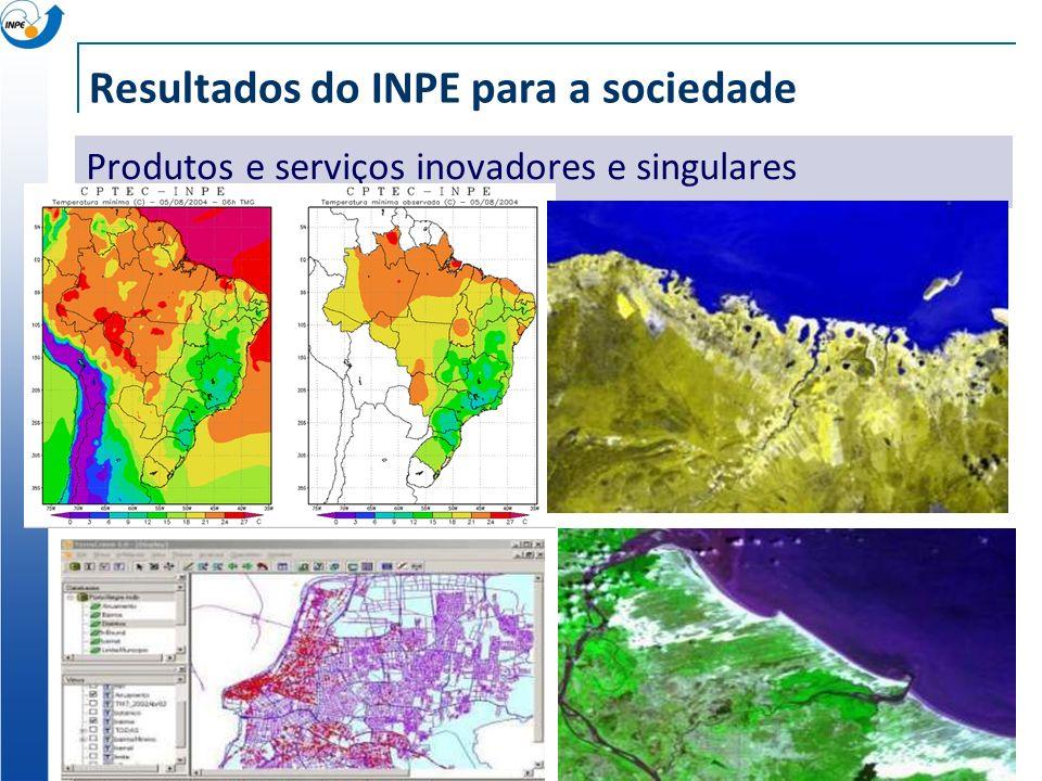 Resultados do INPE para a sociedade Produtos e serviços inovadores e singulares