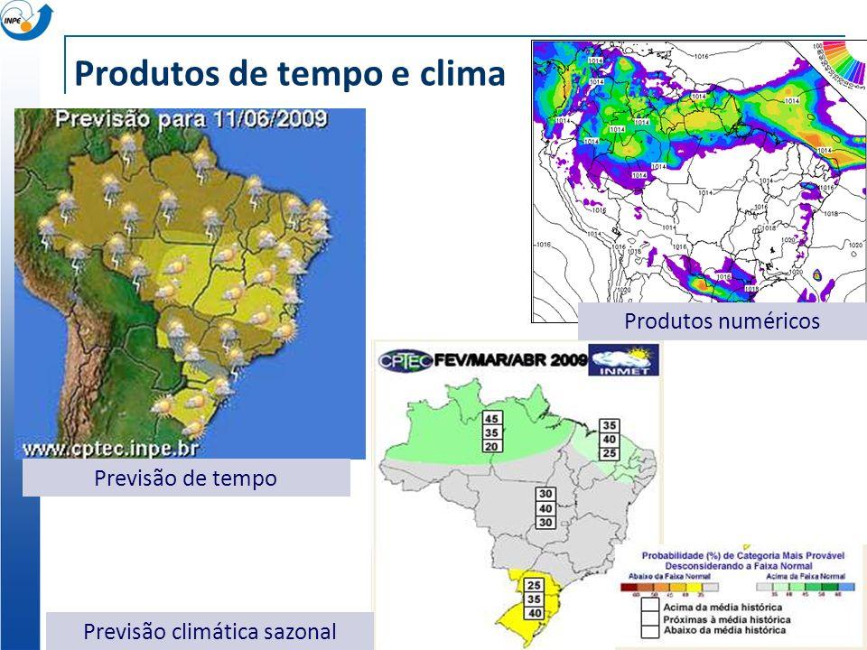Produtos de tempo e clima Previsão de tempo Previsão climática sazonal Produtos numéricos