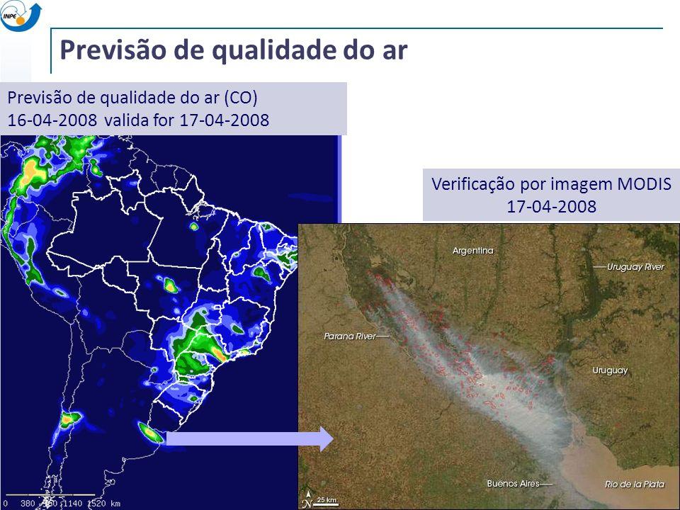 Previsão de qualidade do ar (CO) 16-04-2008 valida for 17-04-2008 Verificação por imagem MODIS 17-04-2008 Previsão de qualidade do ar