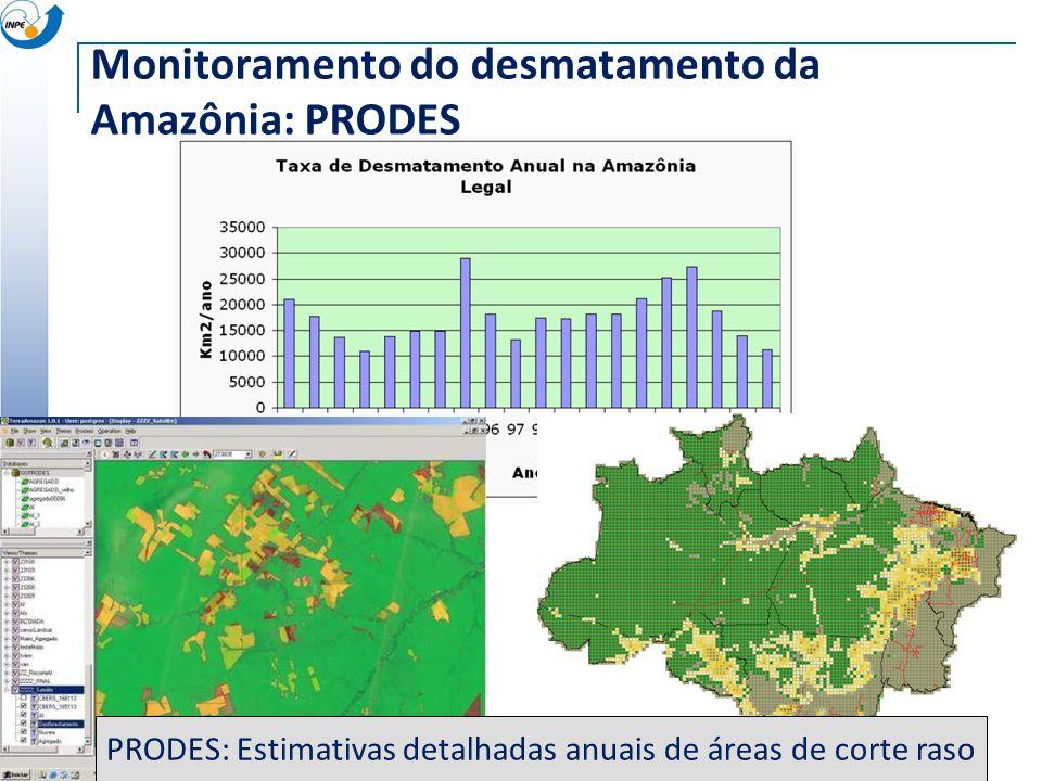 ~230 scenes Landsat/year Taxa anual de desmatamento Monitoramento do desmatamento da Amazônia: PRODES PRODES: Estimativas detalhadas anuais de áreas d