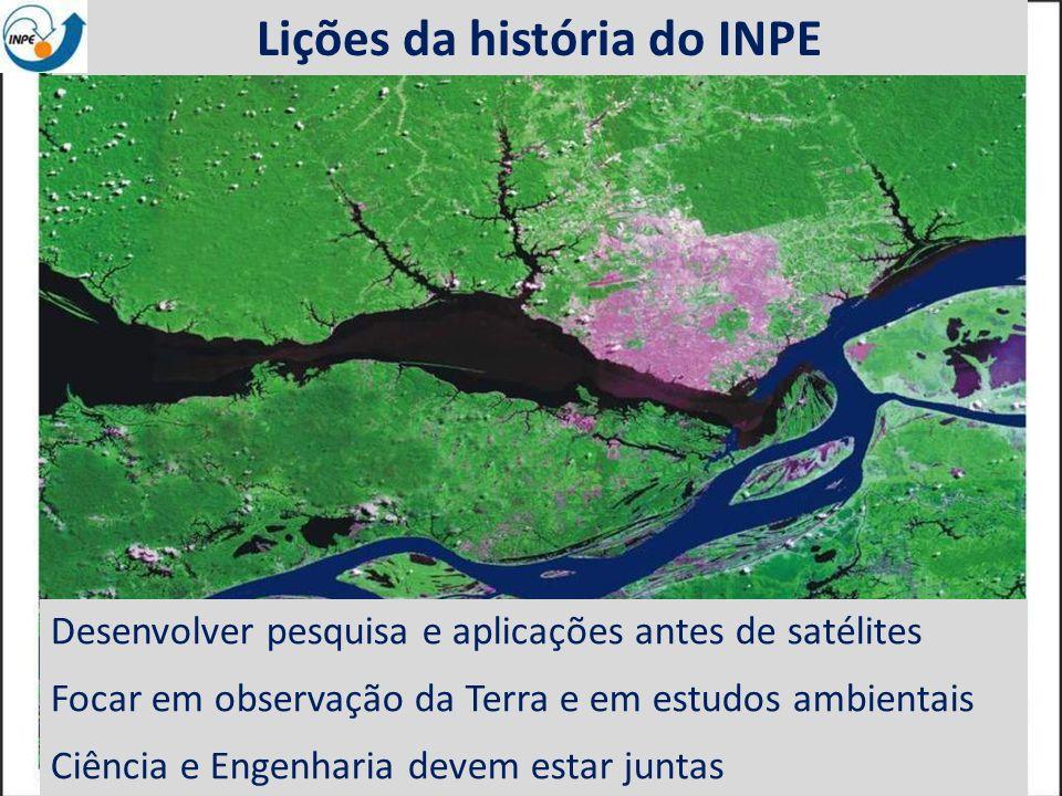 EO data: benefits to everyone Lições da história do INPE Desenvolver pesquisa e aplicações antes de satélites Focar em observação da Terra e em estudo