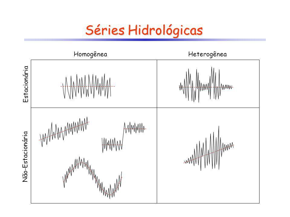 Análise de Séries Temporais Os objetivos principais são: a)Compreender os mecanismos de geração da série temporal Descrever o comportamento da série; Encontrar periodicidades na série (análise harmônica/wavelets); Tentar explicar o comportamento da série (através de variáveis auxiliares); Quantificar as variações aleatórias b)Predizer comportamento futuro Gerar cenários Testar hipóteses (simulações Monte-Carlo) Os modelos podem ser construídos no domínio do tempo (modelos autoregressivos) ou no domínio da freqüência (transformadas de Fourier, wavelets) A maioria das análises estatísticas clássicas pressupõe a existência de séries completas (ausência de falhas) e sem a presença de valores atípicos (outliers)