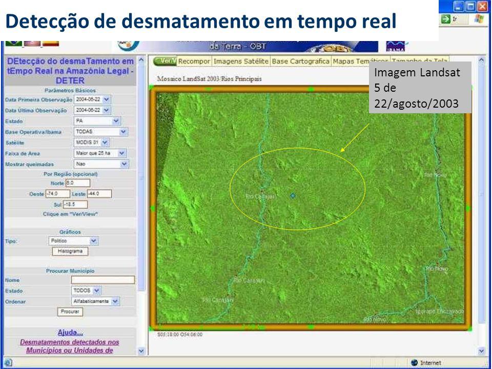 Imagem Landsat 5 de 22/agosto/2003 Detecção de desmatamento em tempo real