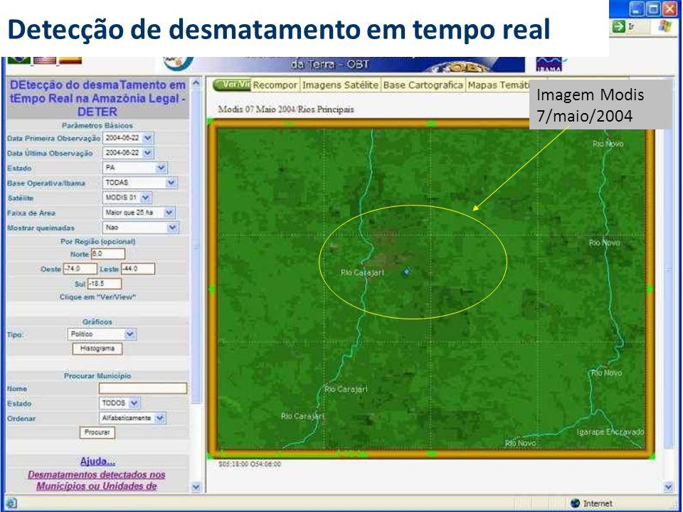 Imagem Modis 7/maio/2004 Detecção de desmatamento em tempo real