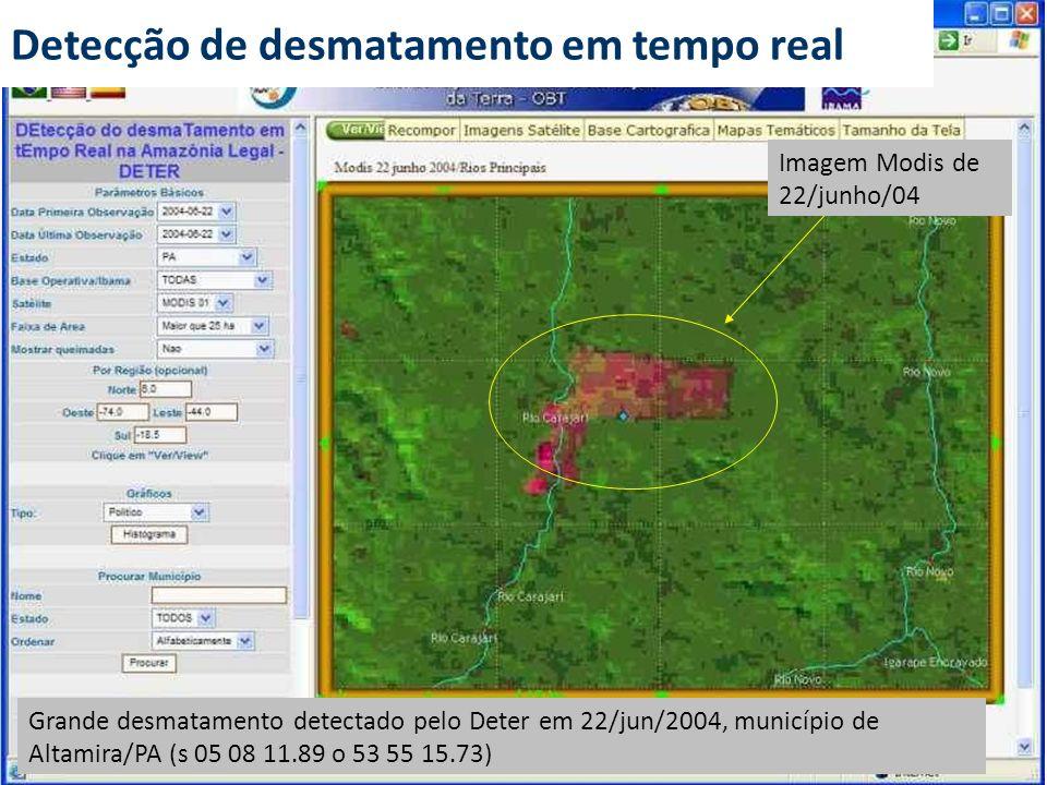 Grande desmatamento detectado pelo Deter em 22/jun/2004, município de Altamira/PA (s 05 08 11.89 o 53 55 15.73) Imagem Modis de 22/junho/04 Detecção d