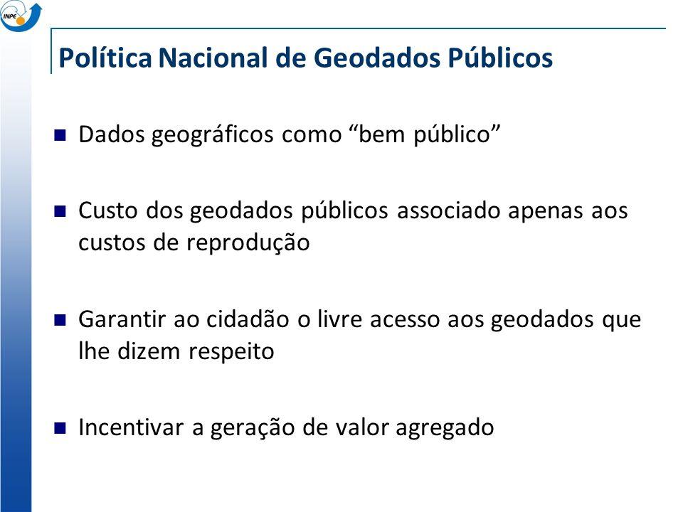 Política Nacional de Geodados Públicos Dados geográficos como bem público Custo dos geodados públicos associado apenas aos custos de reprodução Garant